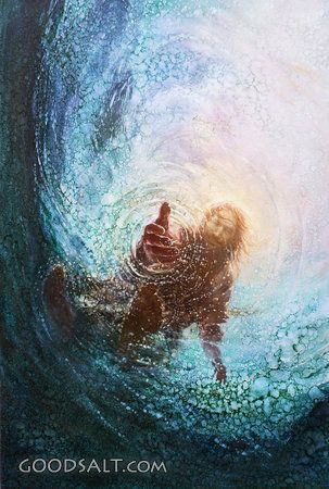 """I love this picture of the Savior from Peter's perspective. Often times we lose our faith in Christ and begin to sink in desperation. We must never ever forget that we have never sunken too far from our Savior's grasp of redeeming love. He is always reaching for us even when we aren't reaching for Him. Painting: """"Save Me - the Hand of God"""" by Yongsung Kim"""