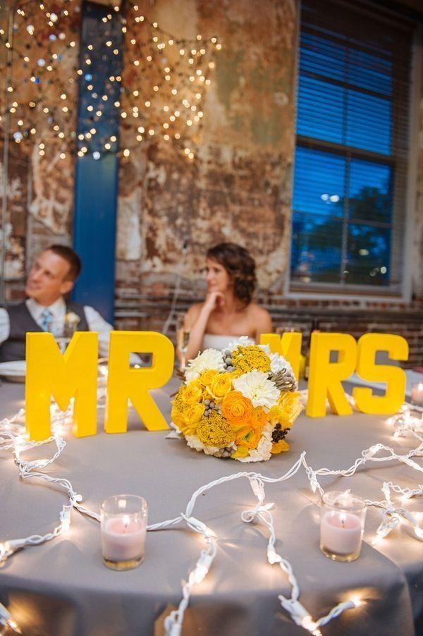 Inspiración para bodas amarillas y gris