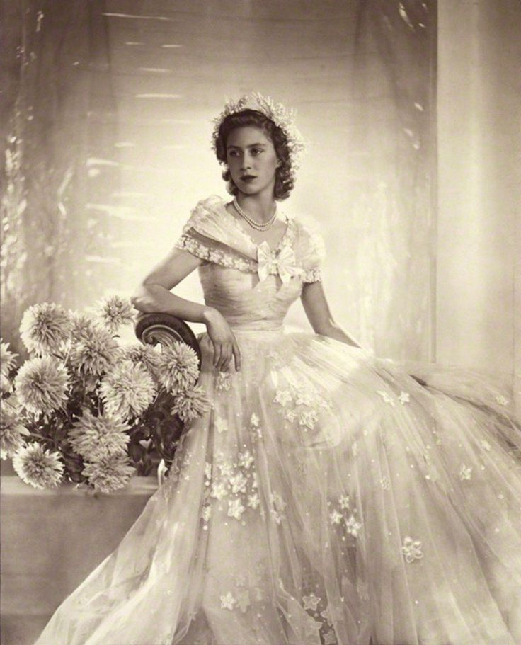 Princess Margaret as bridesmaid at the marriage of her sister, Princess Elizabeth, to Prince Phillip of Greece in November 1947. Photo by Dorothy Wilding,