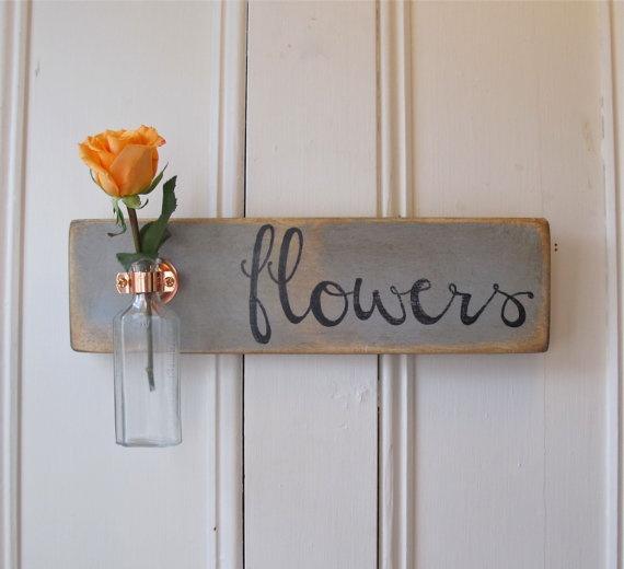 Hanging Wall Flower Vase, Antique Bottle, Flowers, Copper Hanger, Spring, Home Decor, Gray Chalk Paint, $39.95: Antique Bottle, Mothers, Homedecor, Wall Flower, Kitchen
