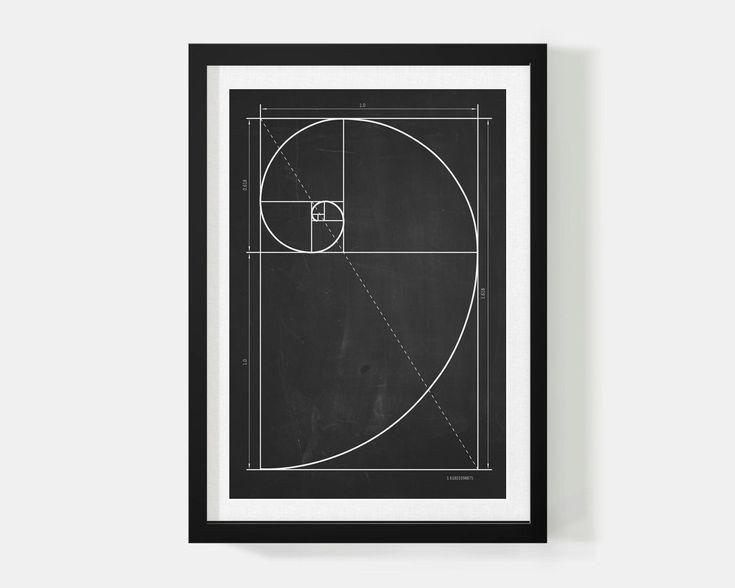 Купить Спираль фибоначчи. - черный, золотое сечение, меловая доска, постер, постеры, постер в детскую