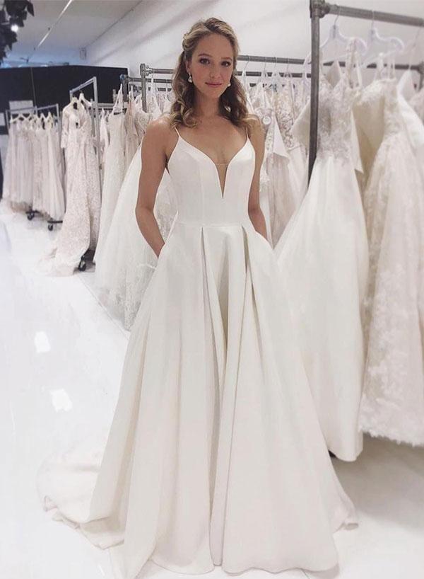 Simple v neck satin long prom dress, white evening dress