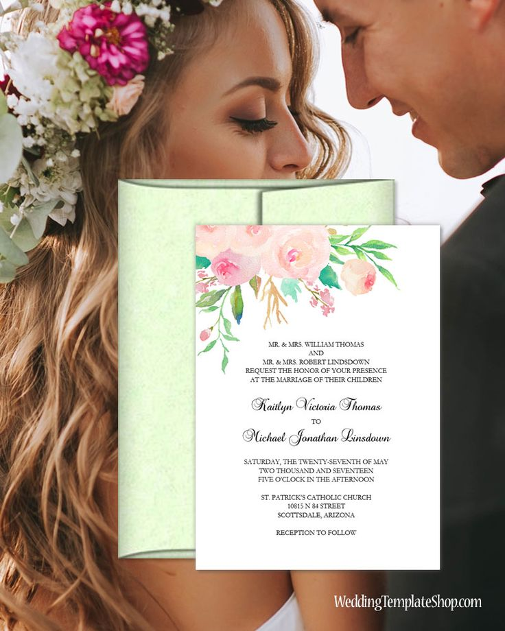 wildflower wedding invitation templates%0A Blush Pink Watercolor Flowers  DIY Printable Wedding Invitation Templates   You Edit  u     Print