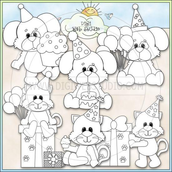 Compleanno Cats & Dogs 1 - NE Kristi W. Designs Francobolli Digi