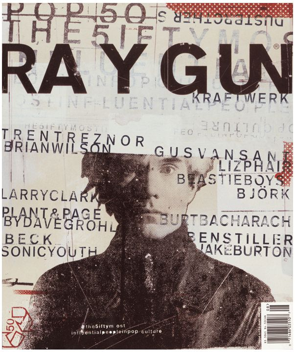 Ray Gun (1992) Ray Gun was an American alternative rock-and-roll magazine, first published in 1992 in Santa Monica, California. Led by founding art director David Carson, Ray Gun explored experimental magazine typographic design. The result was a chaotic, abstract style, not always readable, but distinctive in appearance.