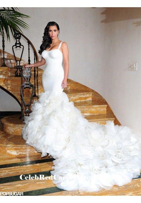 Kim Kardashian Y Mermaid Wedding Gown Bridal Dress