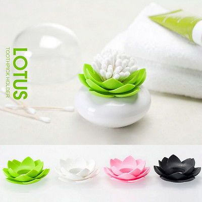 Lotus Flower Cotton Bud Holder Toothpick Case
