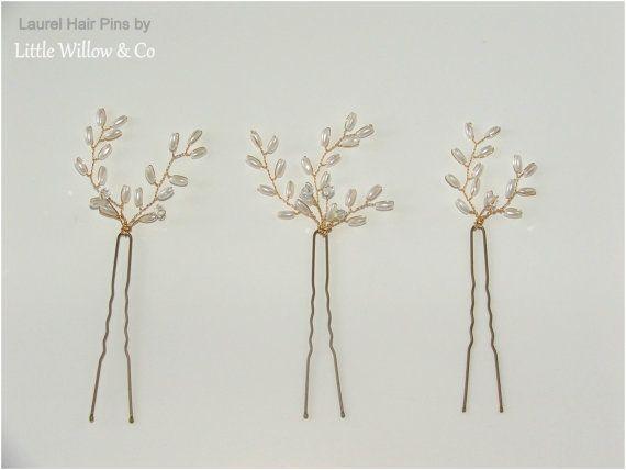 Laurel Bridal Hair Pin Set Pearl Hair Pins by LittleWillowandCo