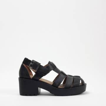 JEFFREY CAMPBELL ARGO Black Distressed Leather SANDALS Women