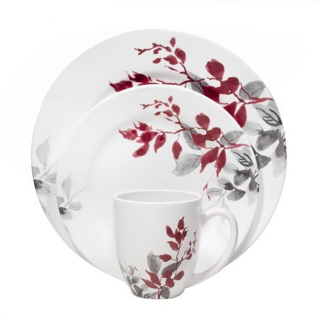 Corelle Boutique Kyoto Leaves Round 16 Pc Dinnerware Set