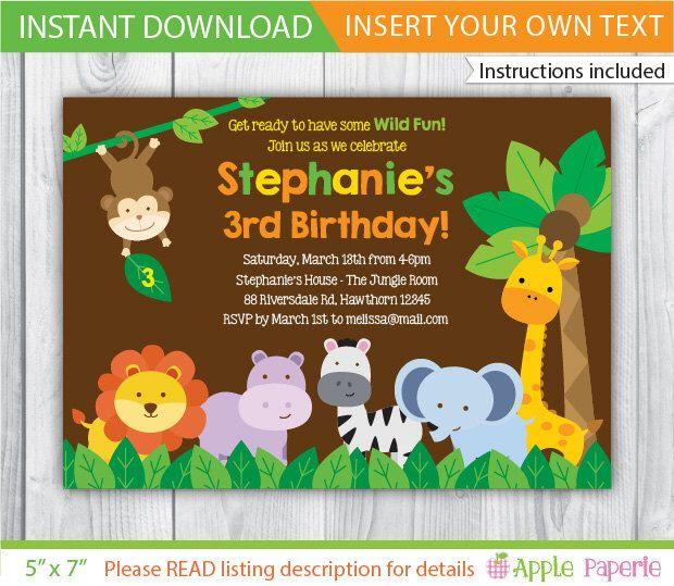 Best 25 Safari invitations ideas – Safari First Birthday Invitations