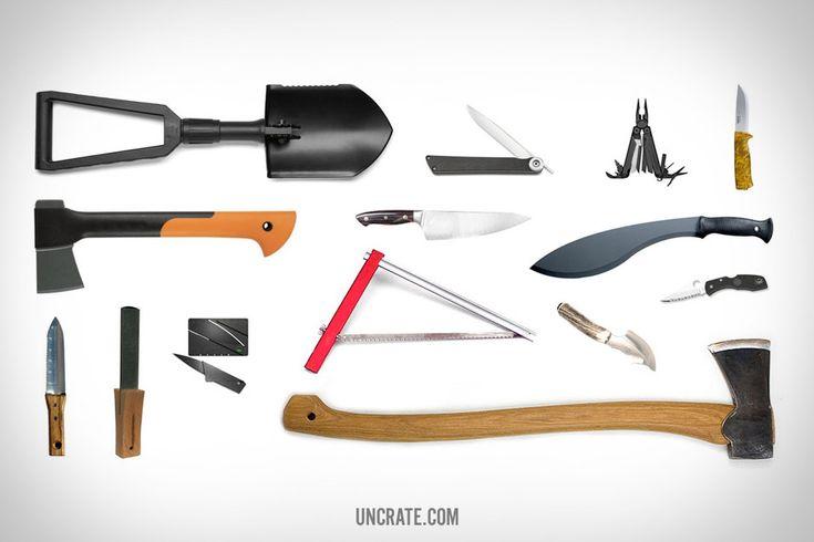 Gerber Folding Shovel ($42). Shun Higo Nokami Personal Folding Stainless-Steel Steak Knife ($95). Leatherman Wave ($68). Helle Eggen Knive ($84). Fiskars Hatchet ($23). Shun Reserve Chef's Knife ($299). Kurki Machette ($24). Hori Hori Garden Knife ($21). AXE Sharpening Diamond ($72). Ian Sinclair Credit Card Knife ($14). Sven Saw ($35). Ruko Skinning Knife ($70). Spyderco Combo Edge Folding Knife ($49-99). Gransfors Scandinavian Forest Axe ($129).