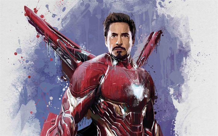 Indir duvar kağıdı Demir Adam, sanat, 2018 film, süper kahramanlar, IronMan, Sonsuz Savaş Avengers