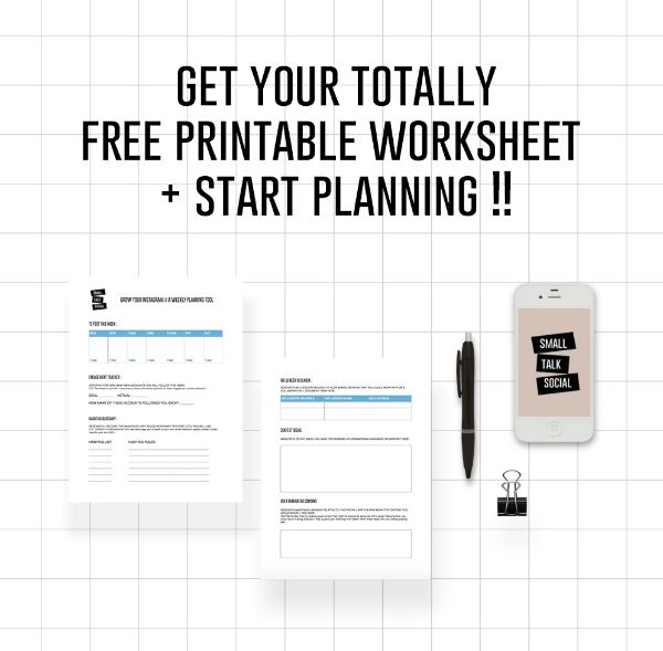 SmallTalkSocial.com // Free Instagram Planning Worksheet to Grow Your Following, Plan + Track Your Progress