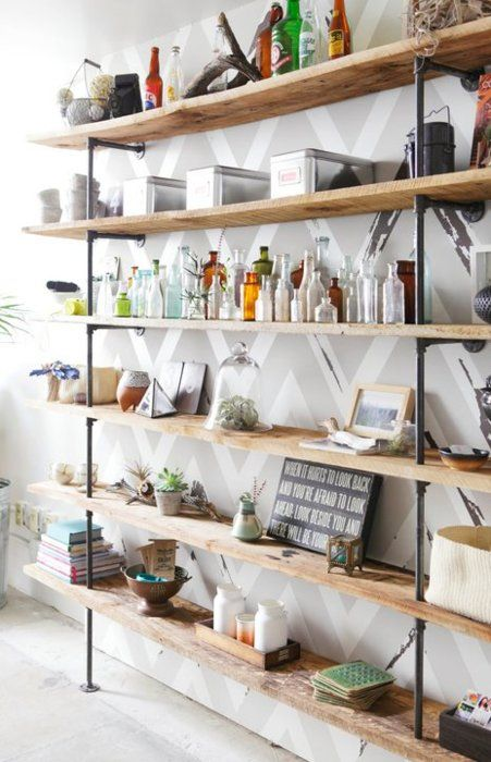living room: shelving (minus the clutter)