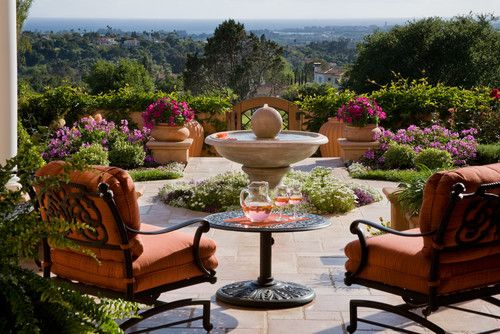 Lush terrace in Santa Barbara, CA. Grace Design Associates.