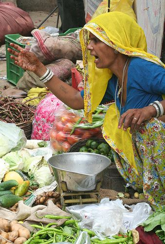 I told you, do not squeeze the merchandise!  ~  Vegetable Seller, Pushkar - India.