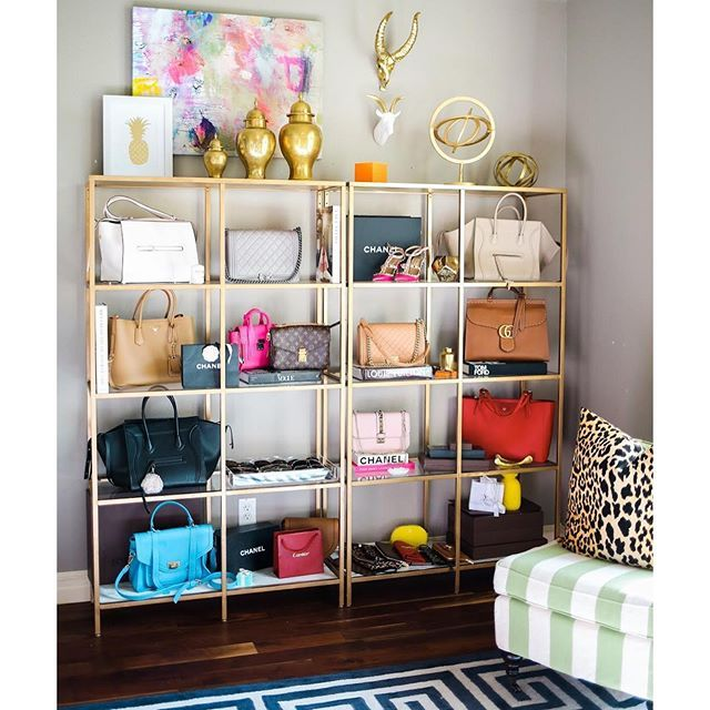 Home Decor Pinterest love the contrasting patterns and colors Ikea Shelves Painted Gold Ikea Hacks How To Store Handbags And Shoes Pinterest