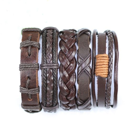 5 Piece Handmade Leather Bracelet Set Leather and Hemp Friendship Braclet USA Seller Item # BST-427
