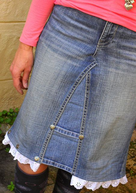 REinvented jeans into a skirt.