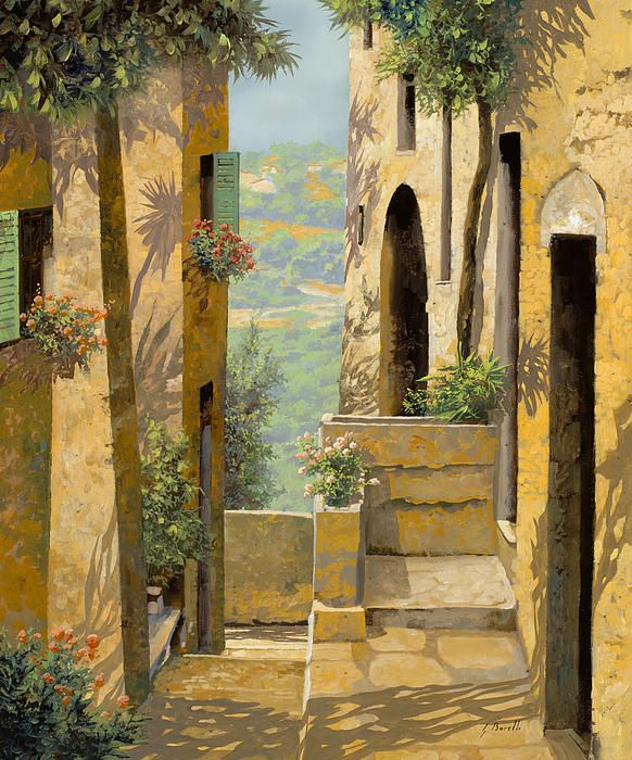 stradina a St Paul de Vence Painting by Guido Borelli - stradina a St Paul de Vence Fine Art Prints and Posters for Sale