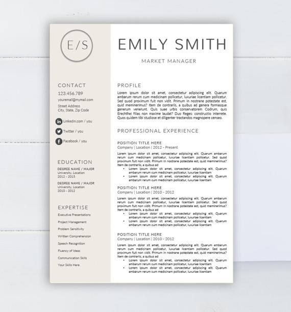 Creative resume template CV template for Word Two by AAAResume