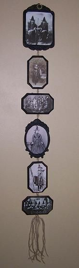 3 by 4 inch frames - painted black - copied witch photos online - hot glue them on - use rope to put them together and hang