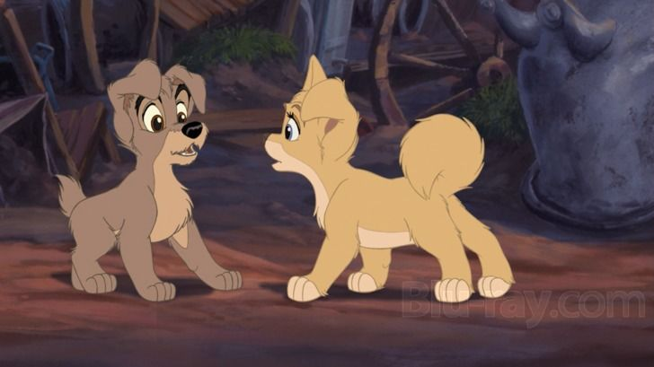 """Scamp and Angel from """"The Lady and the Tramp II: Scamp's Adventure"""""""