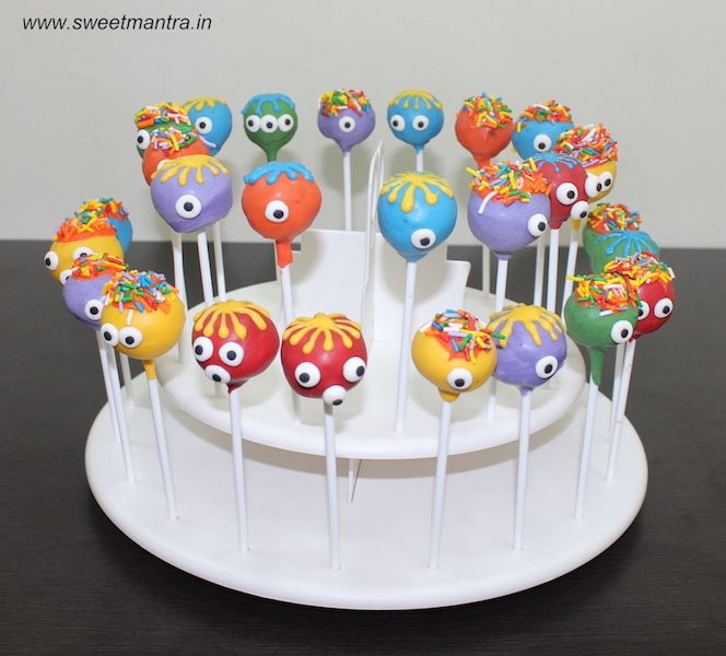 Cute Monsters theme homemade eggless Cake Pops for kids 1st birthday party at Pune