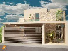 Inspiração: Fachada com abertura lateral com grade de alumínio vazado tipo brieser que destaca o jardim e portão de garagem vazado.