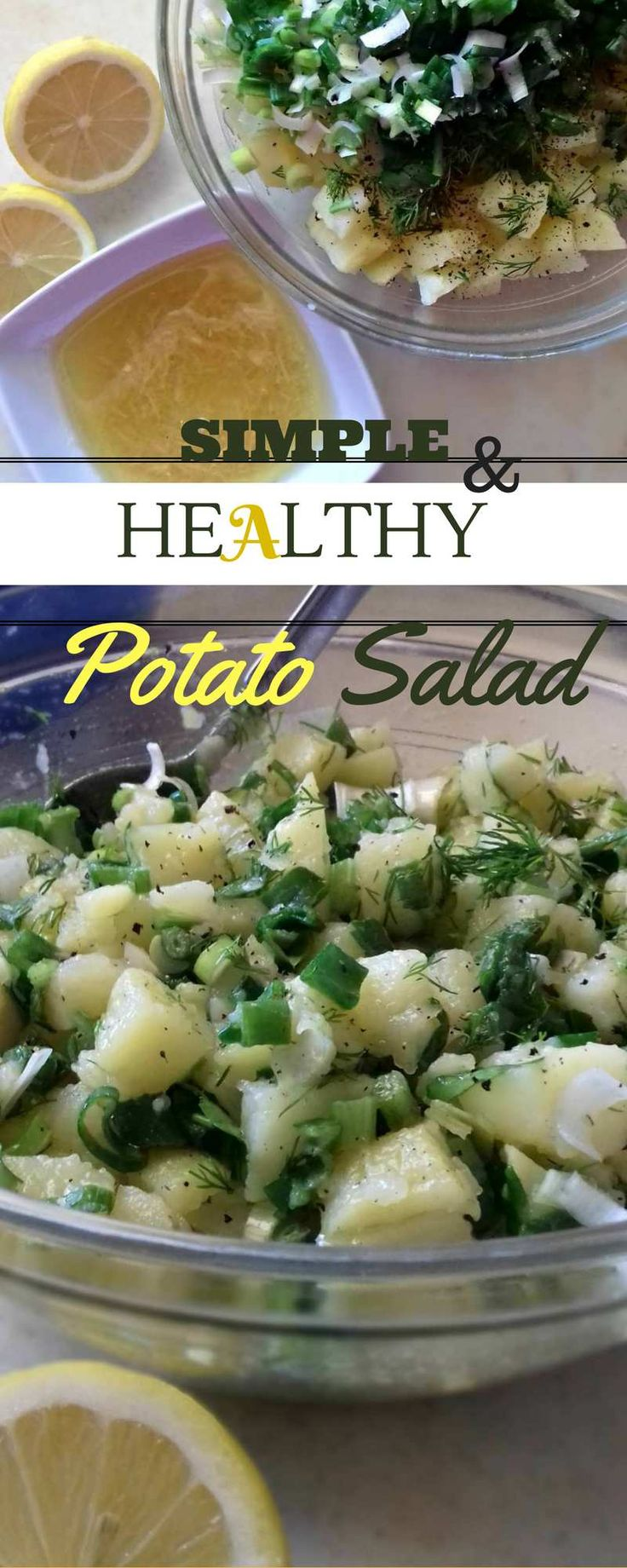 The Lightest Version Of A Potato Salad.  #springonion #dill #parsley #potatosalad #garlic #lemon #oliveoil #veryeasy #vegan