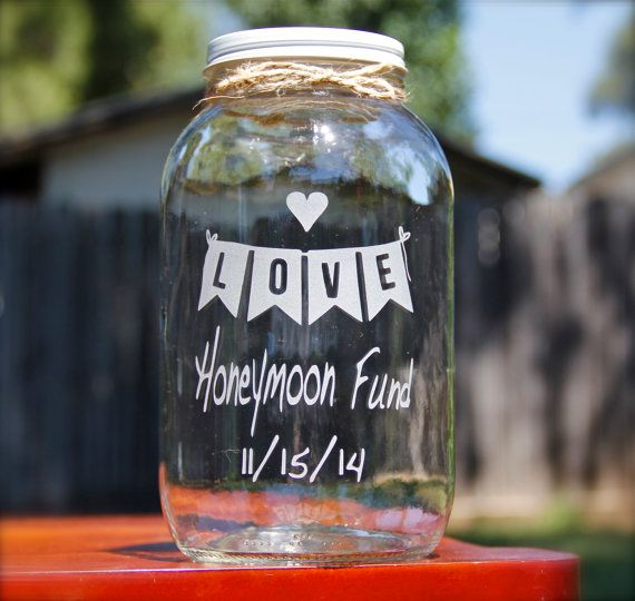 Half Gallon Mason Jar Honeymoon Fund Jar by EtchedExpressions