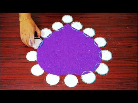 welcome rangoli designs || kolam designs using flower || simple flower muggulu designs - YouTube