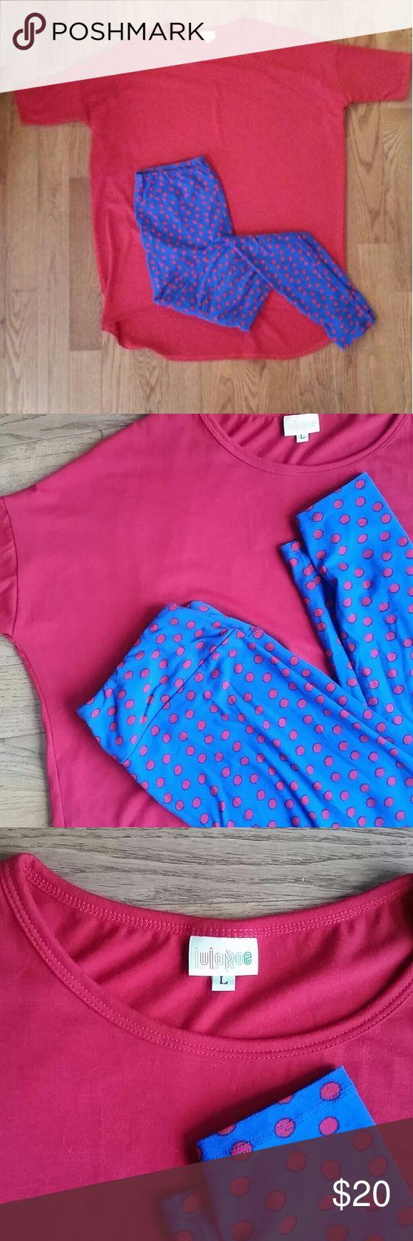 Lularoe tall curvy leggings blue and red polka dot Lularoe leggings are so super comfortable. These are the tall curvy leggings. Royal blue color with true red polka dots. LuLaRoe Pants Leggings