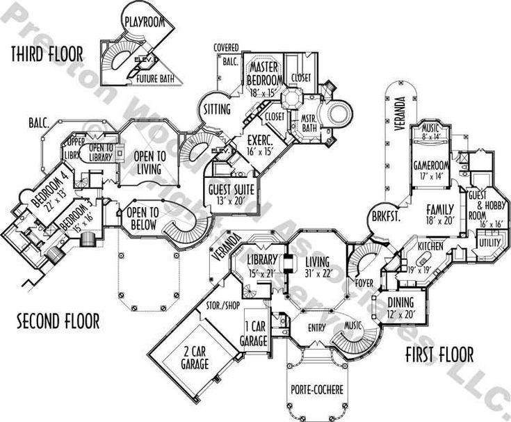 Unique Two Story House Plan, Floor Plans for Large…