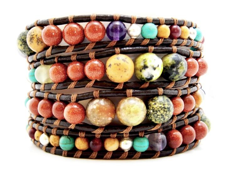 Wrap mix multicolor de piedras graduadas, turquesa, turquesa amarilla, Gold stone, Jaspe Otoño, Suiseki, Ónix italiano, fluorita Arcoiris...!!!!