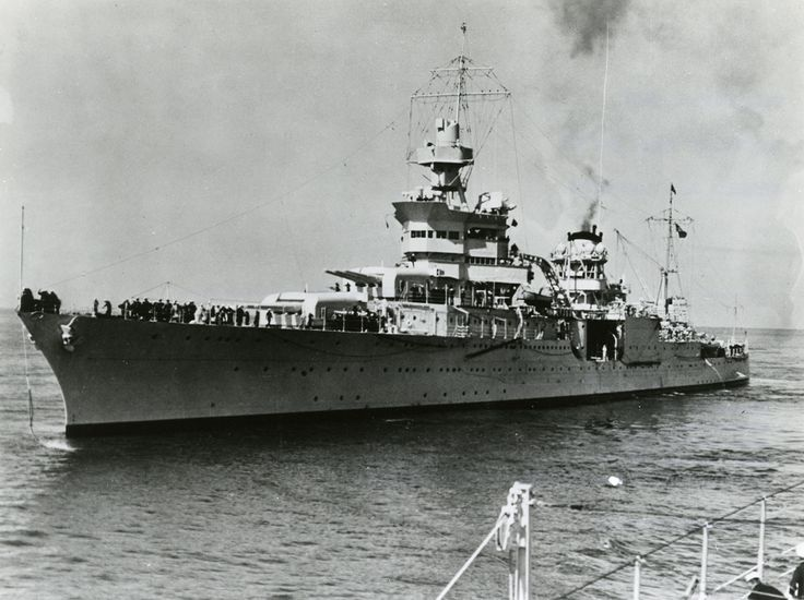 July 30, 1945:  The USS Indianapolis is sunk by a Japanese I-58 submarine, killing 883 seamen.   USS Indianapolis, WWII Photograph Collection, PR 076, NYHS Image #86633d.