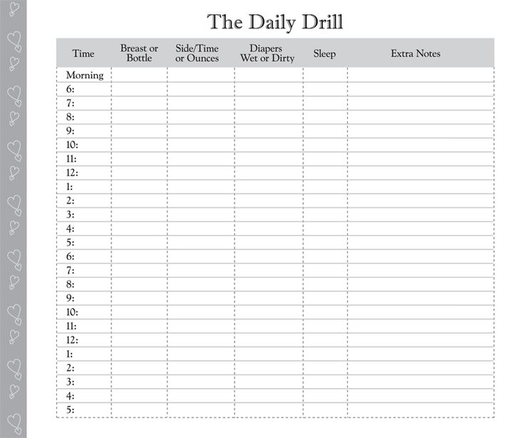 Printable Diaper Feeding Form   Day in the Life: Daily Log for Baby ...