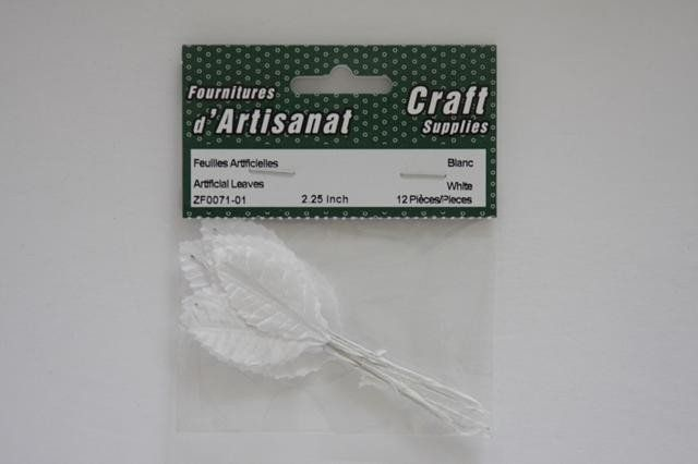 ZF0071-01 Artificial Leaves 2.25 inch White 12 Pieces