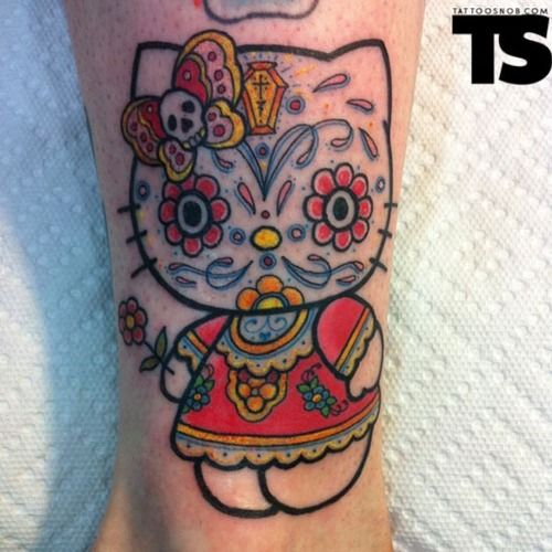 Hello Kitty Dia De Los Muertos Tattoo