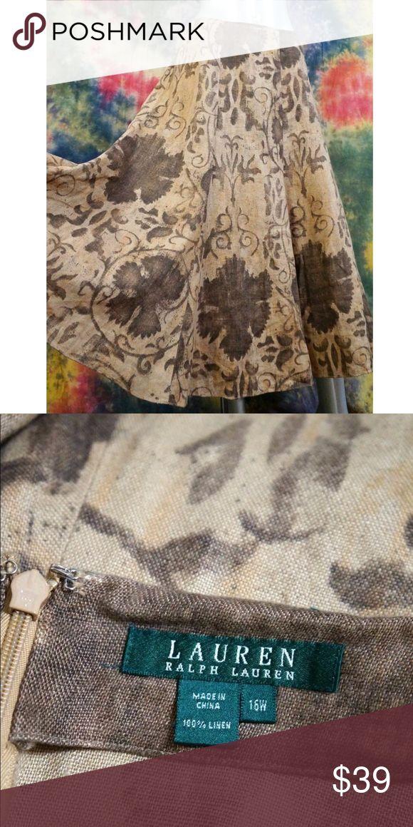 "Ralph Lauren Brown Sepia Linen Midi Skirt 16W Women's Ralph Lauren Brown Sepia Linen Midi Skirt 16W 16 Lagenlook Artsy Print  Tagged a size 16w. Please check measurements to ensure proper fit.   39"" waist 55"" hips 32"" length (waist to hem) Lauren Ralph Lauren Skirts Midi"