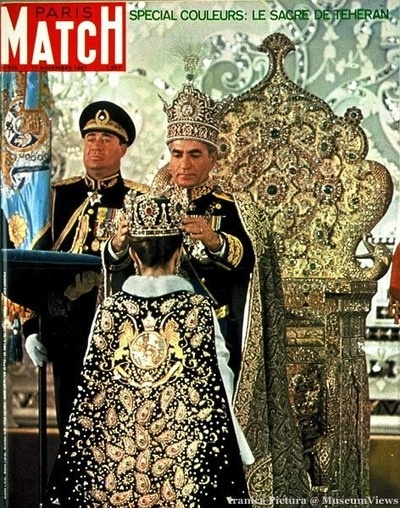Farah Diba being crowned by Shah Mohammed Reza Pahlavi