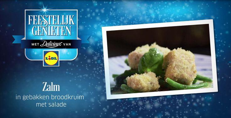 Ramon Beuk heeft een heerlijke receptvideo voor Zalm gebakken in broodkruim met salade #Lidl #Recept #Zalm #Voorgerecht