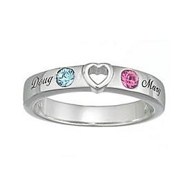 Couple Heart Name Amp Birthstone Ring Rings For Girls