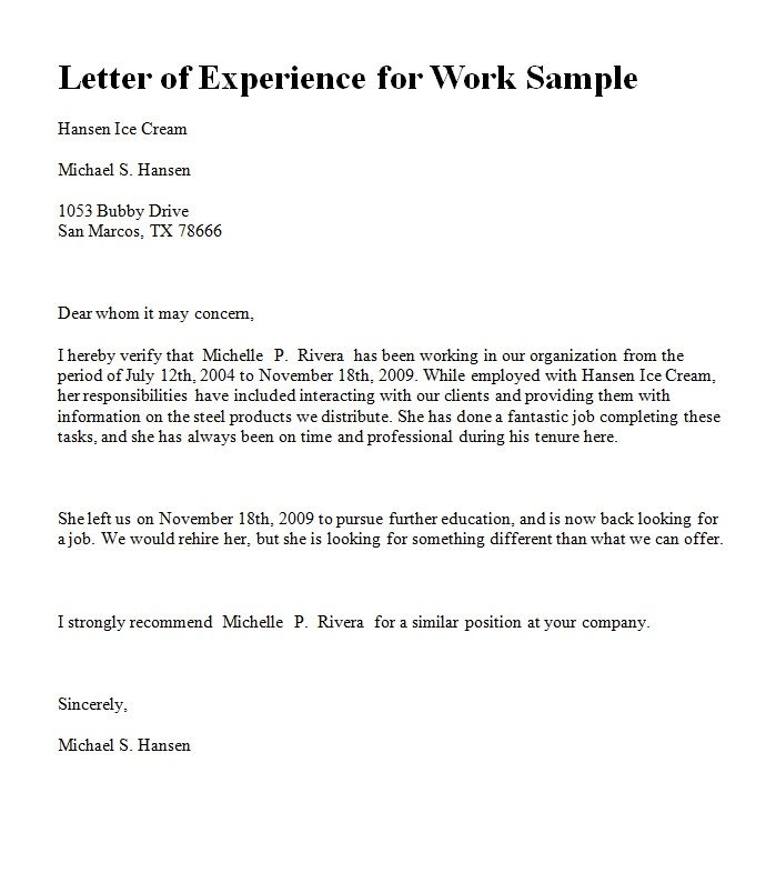 experience letter in ms word format for