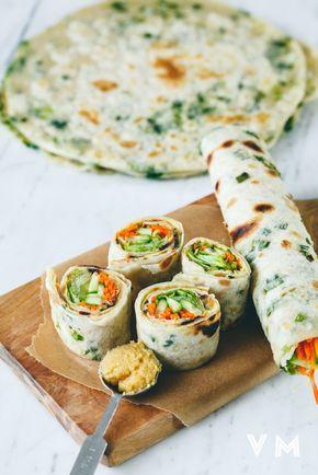 Vegan Scallion Pancake Rolls - Go light and fill vegan scallion pancake rolls…