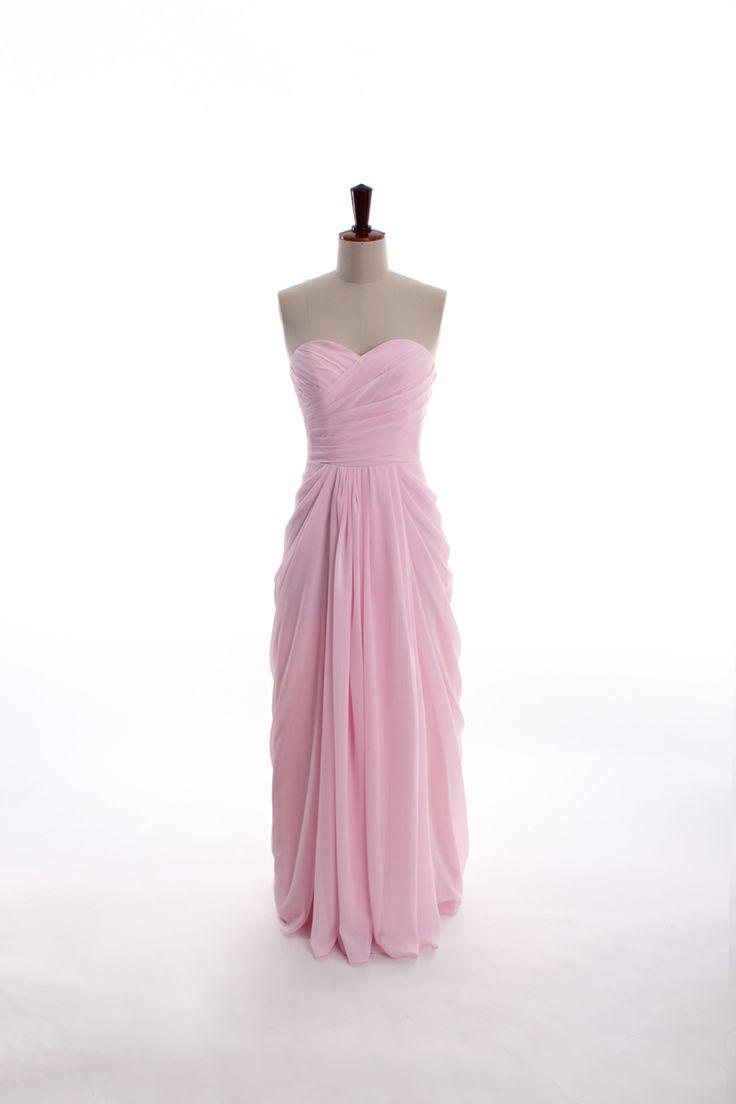 sweetheart neckline chiffon dress (in floor-length)