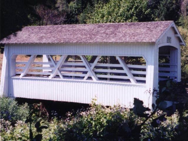 60' Sandy Creek Covered Bridge crosses Sandy Creek. Remote, Coos Co. OR