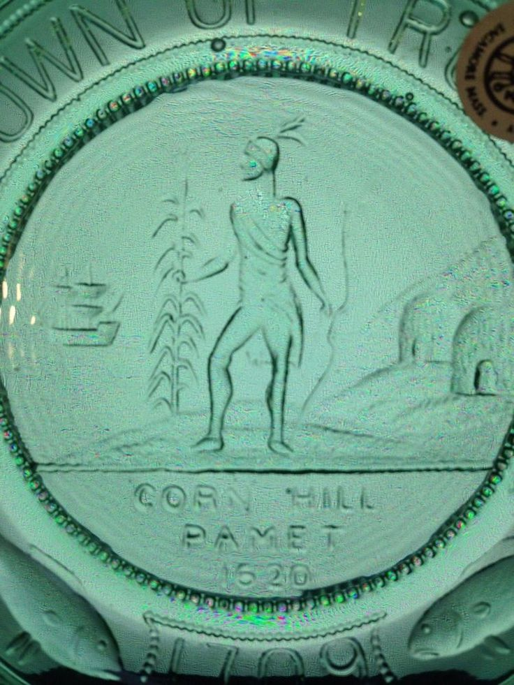 Truro Town Seal Corn Hill Pamet Pairpoint Cup Plate Pilgrim History Cape Cod MA #PairpointMtWashington