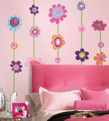 Flower Stripe Peel & Stick Giant Wall Decal Wall Decal at AllPosters.com